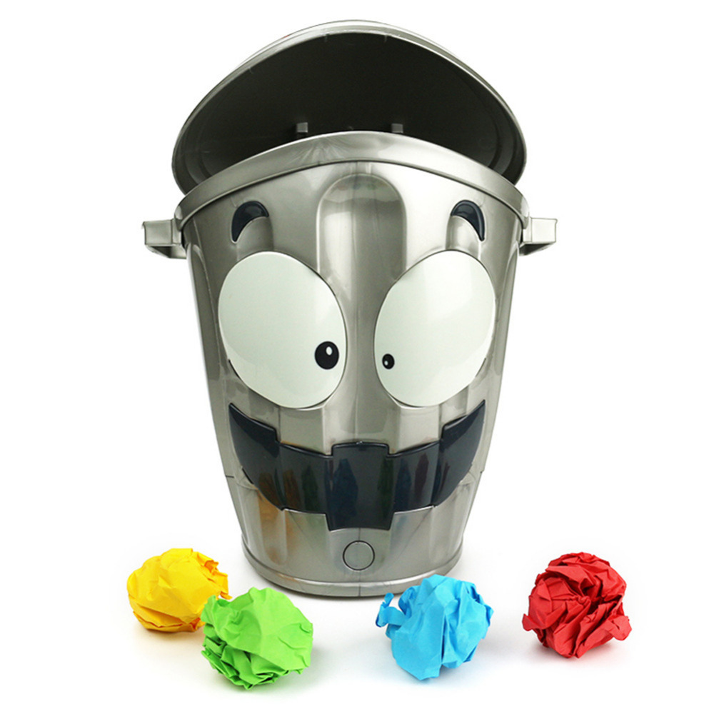 MINOCOOL Loony funny electronic bin toy Indoor Competitive throwing paper balls into the moving Trash Can toy for kids and adult the trash pack individual series 2 trashie 267 stingle bin sects common
