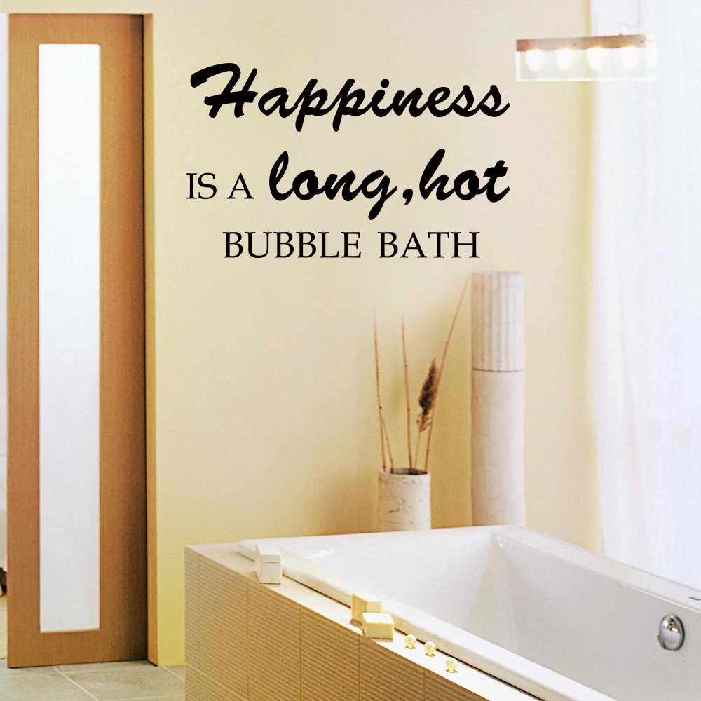 Happiness is a long hot bubble bath Bathroom Bath Tub Wall Decal ...