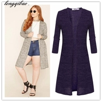 2017 European And American Women S Cashmere Knit Cardigan Long Section Of Large Size Slim Solid