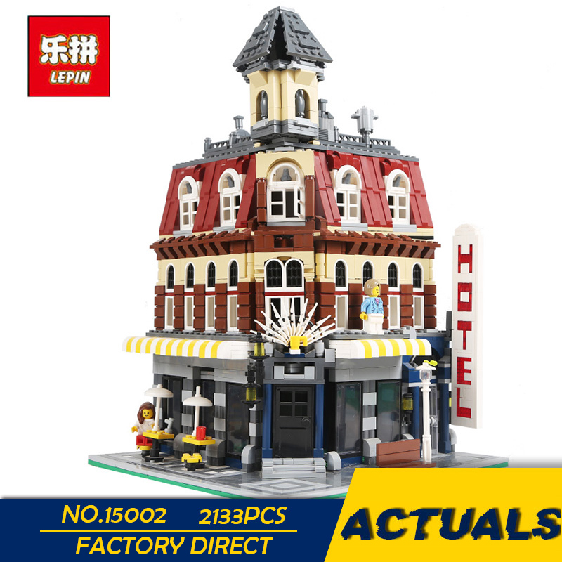 LEPIN 15002 2133PCS City Street Cafe Corner Model Building Kits Blocks Kid Toy Gift brinquedos Compatible With 10182 IN STOCK lepin15003 2859pcs city series the town hall model building kits blocks kid toy gift compatible with 10224