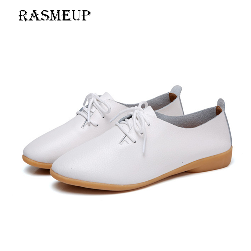 RASMEUP Genuine Leather Women's Flat Shoes 2018 Women Oxford Shoes Ballerina Flats Woman Moccasins Lace Up Loafers Plus Size 10 high waist swimsuit 2017 new bikinis women push up bikini set vintage retro floral bathing suit beach wear plus size swimwear