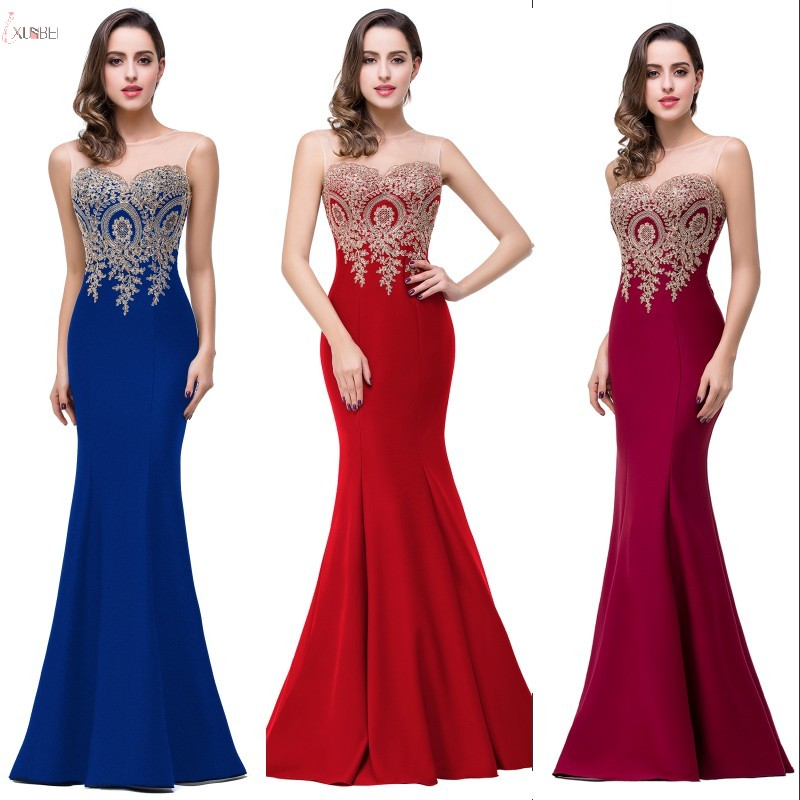 Long   Prom     Dresses   2019 Mermaid Scoop Neck Sleeveless Applique Party Gown vestidos de gala