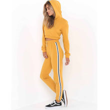 New 2Pcs Women Ladies Tracksuit Crop Hoodies Sweatshirt Pants Sets Leisure Wear Casual Suit