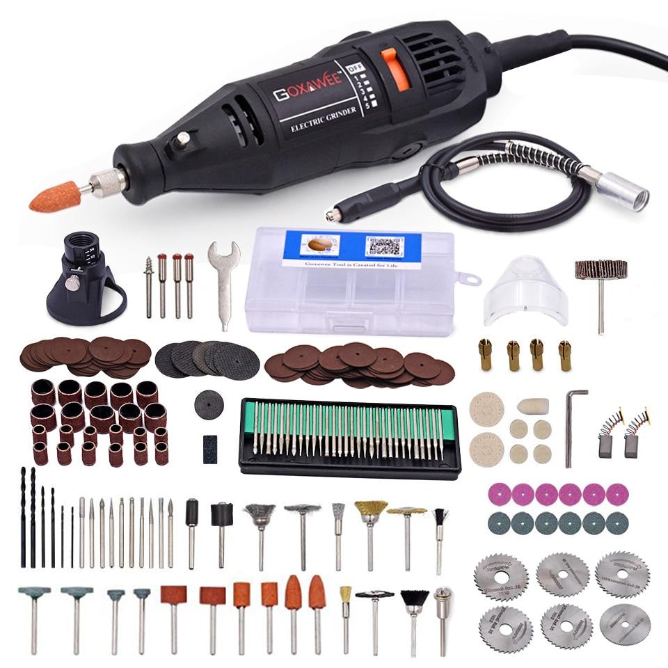 GOXAWEE 220 v Elektrische Mini Bohrer Dremel Power Tools Elektrische Graveur Bohrer Maschine Grinder Mit Dreh Werkzeug Dremel Zubehör