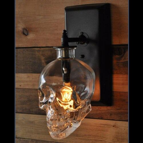 Crâne mur lampes Rétro style Industriel Creative Bar Applique Murale Moderne Mur Lampes Crâne En Verre Crâne Bouteille Luminaire lampes
