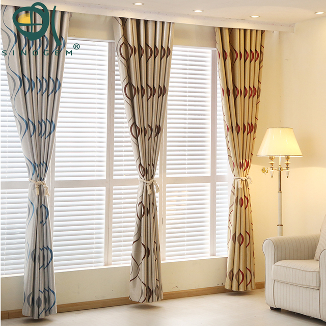 Sinogem Thick Luxury Wavy Striped Curtain Design For Living Room Bedroom Home Decoration Modern Blackout Curtains