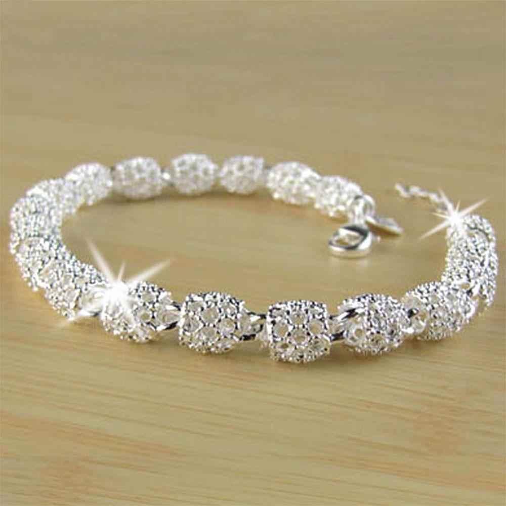 Schöne Elegante 925 Silber Kette Armband Armreif für Frauen Dame Mode Schmuck