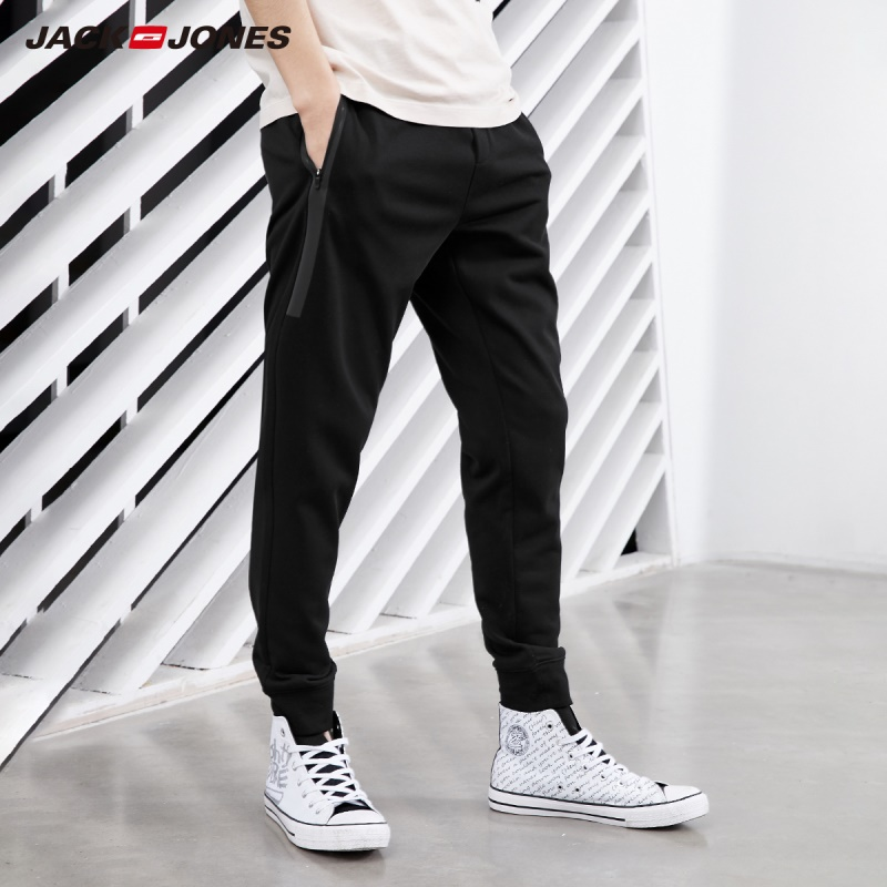 JackJones Men's Stretch Jogger Pants with Zipper Pockets Men's Slim Fit Sweatpants Men's Fitness Trousers 2019 Spring 219214503(China)