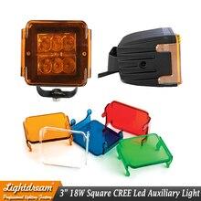 1 PC 3 INCH 18 W Quadrados De Inundação Spot LED Trabalho Light 12 V 24 V Off estrada Auxiliar Levou luzes feixe de luz de condução com cobertura para o Caminhão Do Carro