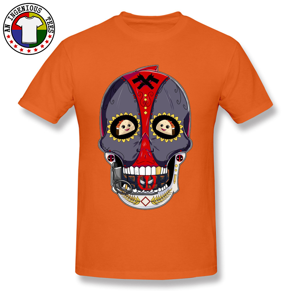 Tees Deadpool Sugar Skull 1226 T-Shirt Summer Fall Company Normal Short Sleeve All Cotton Round Neck Men's T-Shirt Normal Deadpool Sugar Skull 1226 orange