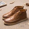 Ahueca hacia Fuera Los Hombres Italianos Zapatos de Cuero Suave de fondo plano de Microfibra Brogue Botas Individuales Zapatos de la Ayuda de Café High Street Solid