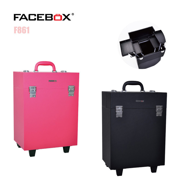 Facebox Trolley Makeup Case Beauty Box With Wheels Professional Black And Pink Color Standard