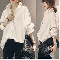 Плюс Размер 2015 Новая Осень Vintage Batwing Рукавом Свободные Японский Литературный Жира Блузка Рубашка Белый Черный 3366