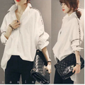Plus Size 2015 Nueva Otoño Vintage Japonés Literaria de Grasa Suelta de Manga Batwing Blusa Camisa Blanca Negro 3366