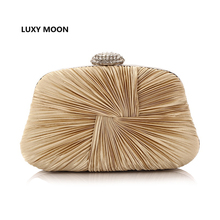 Ruched Satin Designer Women Evening Bag gold clutch famous brand clutch wallet Party ladies evening bags pochette soiree L407