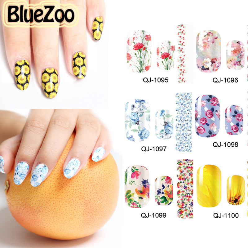 BlueZoo 2016 Flower Design 3D Nail Sticker Nail Art Decoration DIY Nails Decal Beauty Tips Makeup Accessories14 Sheets/pack bluezoo 10pcs black 3d alloy bow tie nail rhinestones decorations nail art diy decoration glitters slices beauty nail stud tips