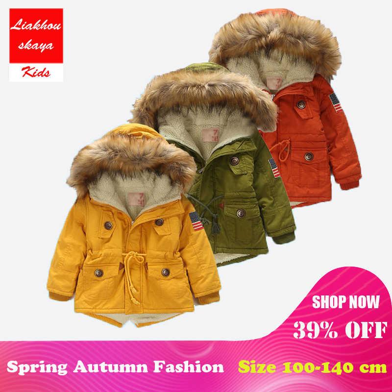 4694a899a 4-13Y Boys Winter Warm Coat And Jacket 2017 Autumn Winter Korean Boys USA  Flag