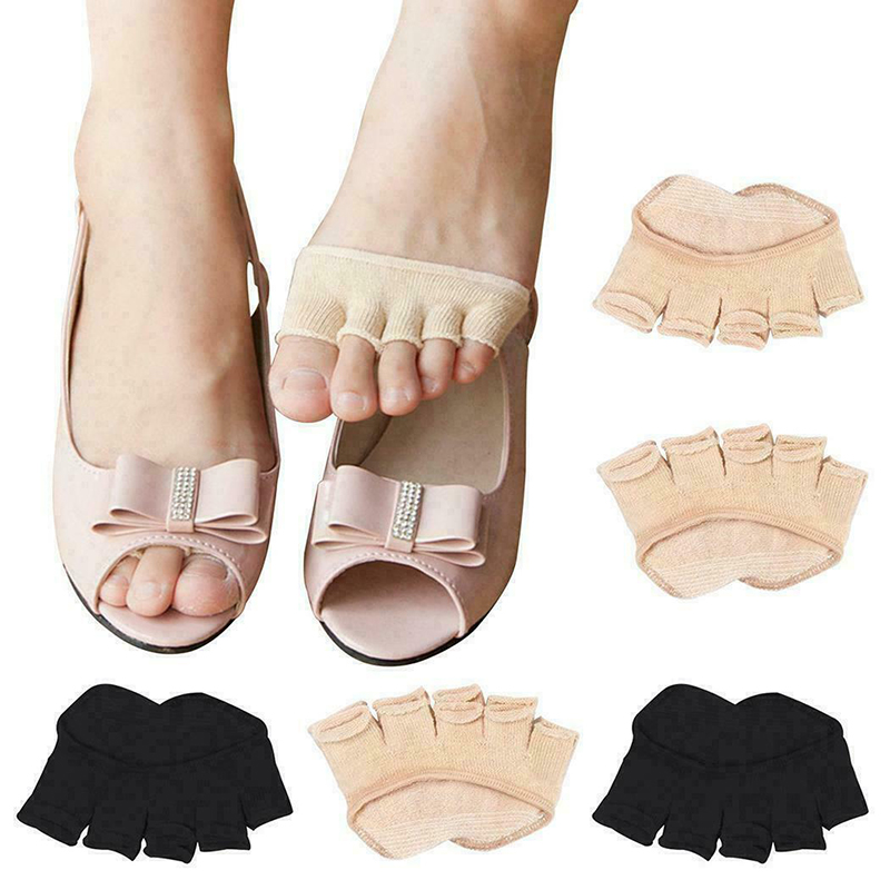 1pair Women Durable Toeless Socks Ankle Grip Open Toe Breathable Pilates Five Finger Anti-Slip Absorbent Ladies Sock Slipper New