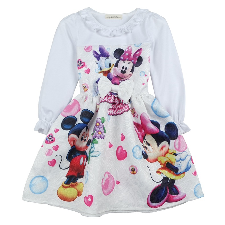 Birthday Present Princess Girl Dress Kids Girls Cartoon Cotton Dress Mickey Minnie Printing Long-sleeved Spring Autumn Dresses
