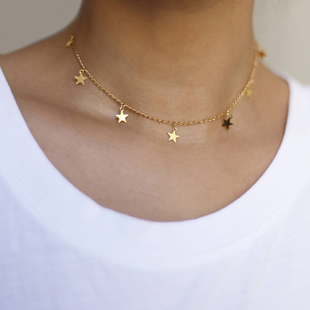 2017 New Fashion Drop 7 Star Choker Necklace Gold Star Necklace XL764