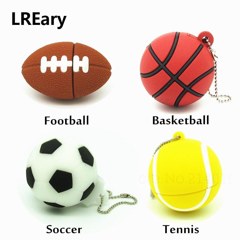 Cartoon Sports Ball USB Flash Drive Football Basketball Tennis Pen Drive Memory Stick Usb 2.0 Pendrive Gift 4GB 8GB 16GB 32GB