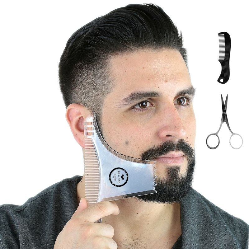 Men's Beard Shaping Styling Template Combs Transparent For Hair Trim Beards With Stainless Steel Scissors And Comb Set