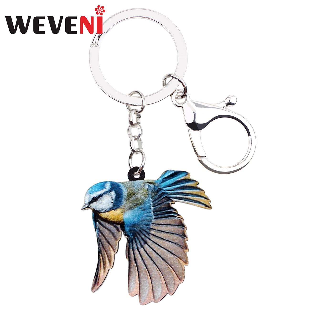 WEVENI Acrylic Blue Tit Bird Key Chains Keychains Ring Holder Fashion Animal Gift Jewelry For Women Girls Bag Car Purse Charms