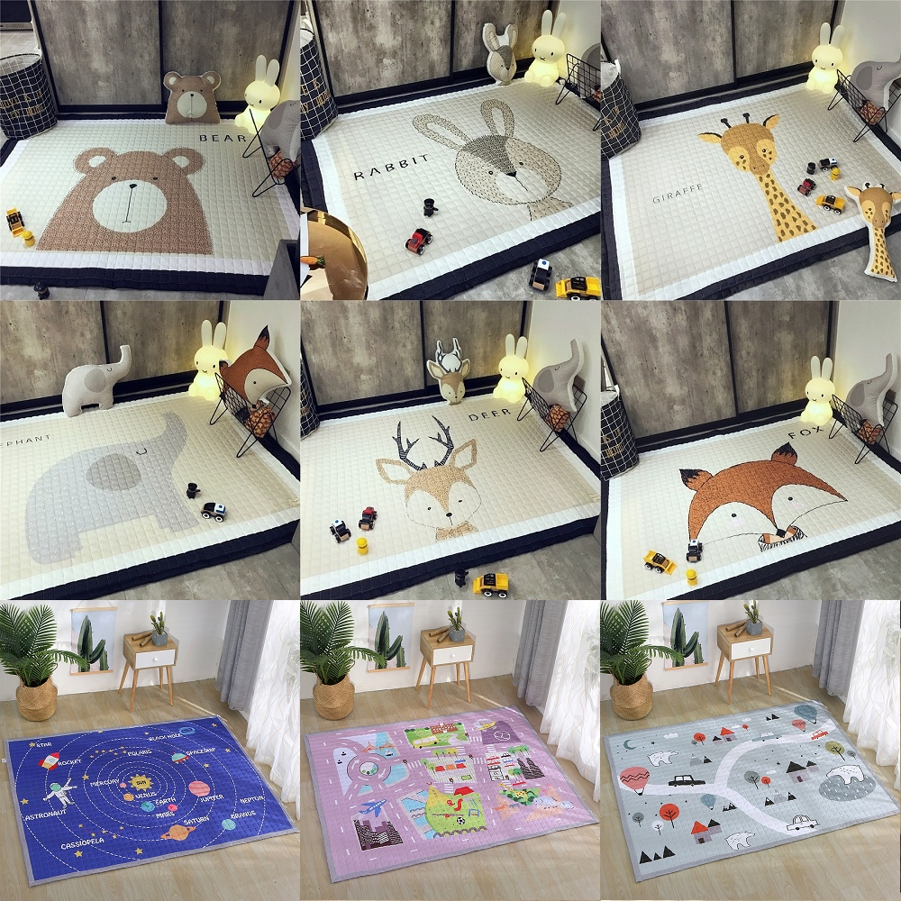 все цены на Animals Deer Elephant Fox Bear Giraffe Anti-skid Baby Play Mats Blanket Kids Carpet Nordic Style Room Home Decor Photo Props