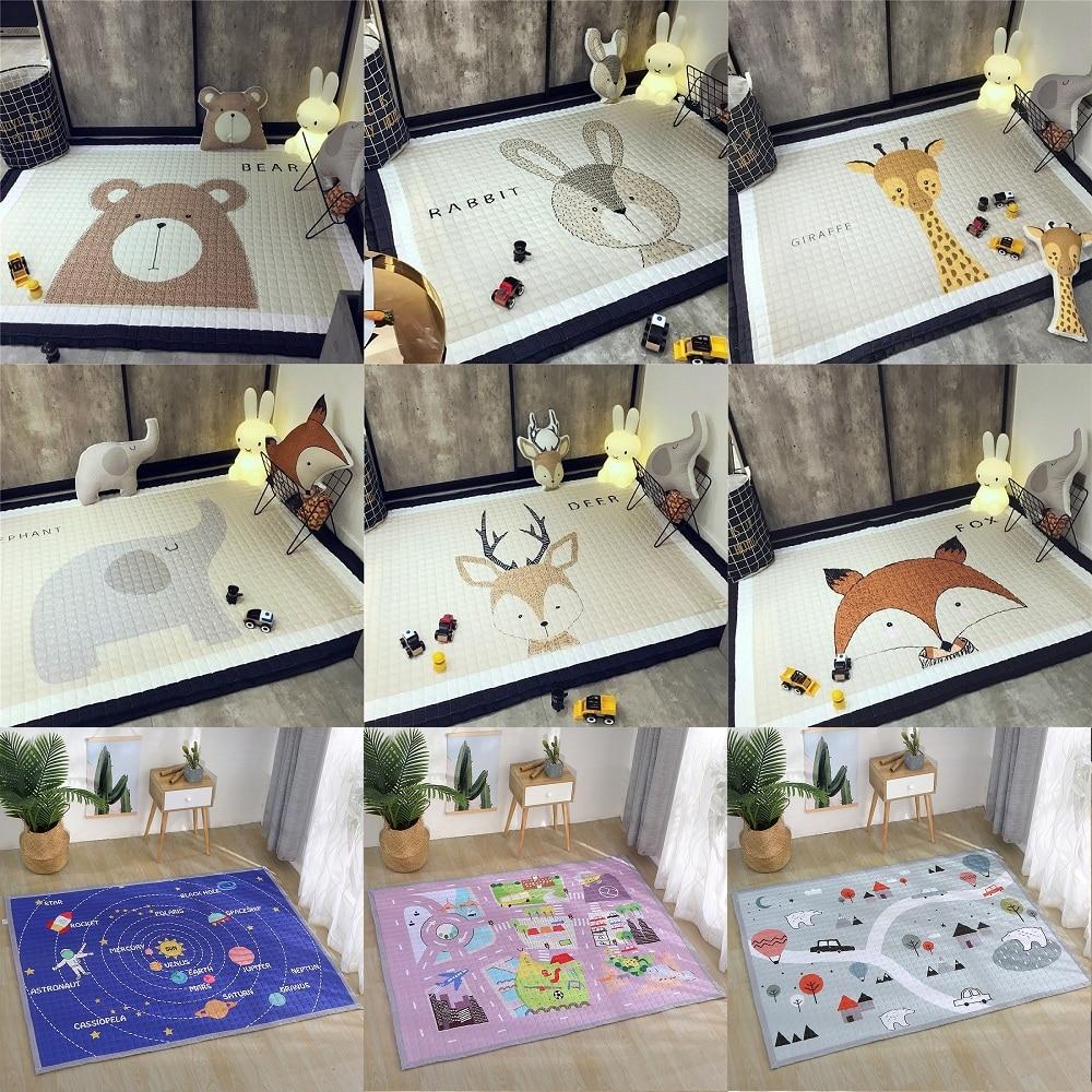 Animaux cerf éléphant renard ours girafe anti-dérapant bébé tapis de jeu couverture enfants tapis Style nordique chambre décor à la maison accessoires Photo