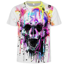 2019 Summer Skull Poker Printing Men Short Sleeve 3D T Shirt Casual