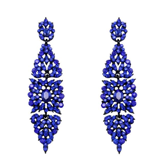 Vintage Long Earrings With Blue Stone Fashion Chandelier For Women Jewelry