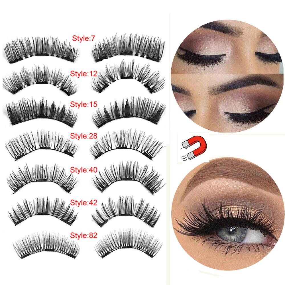 4Pcs Magnetic False Eyelashes Extension Tools Full Coverage  Magnets Eye Lashes Natural Thick Long Makeup Tools Wholesale