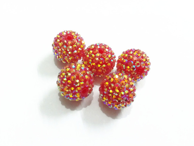 Wholesale ! 20mm 100pcs lot Neon Red AB Effect Resin Rhinestone Beads For  Chunky Jewelry e475966744f1
