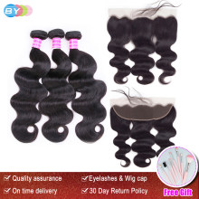 BY Body Wave Bundles With 13x4 Lace Fraontal Free Part Remy Human Hair Extension Brazilian Hair Bundles With Frontal Closure(China)
