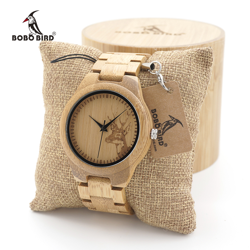 BOBO BIRD Women Bamboo Wooden Watches Deer Men with Wood Strap Quartz ladies watchTri-Fold Clasp watch gifts emo logo case bobo bird v o29 top brand luxury women unique watch bamboo wooden fashion quartz watches