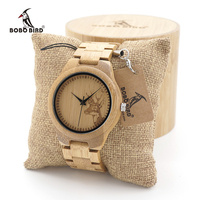 BOBO BIRD D28 Couples Bamboo Wooden Watch With Wood Strap Quartz Analog With Quality Miyota Movement