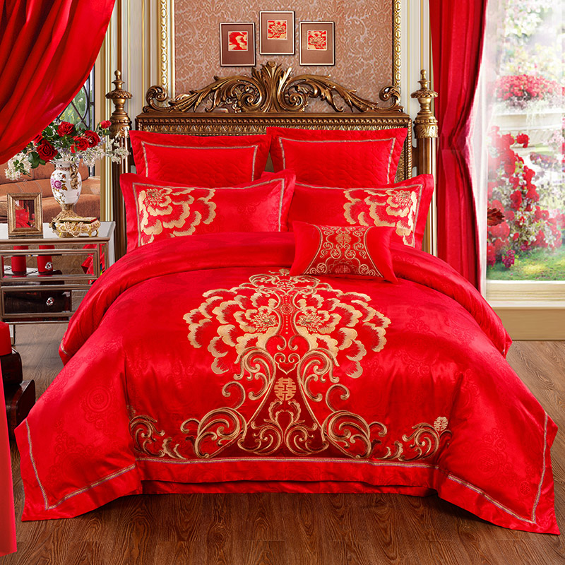 High-quality Wedding Bed Set Bedding Golden Embroidery Cotton Satin Red Bedding Set 4pcs/set Duvet Cover Set Chinese Style Bedding Home Textile