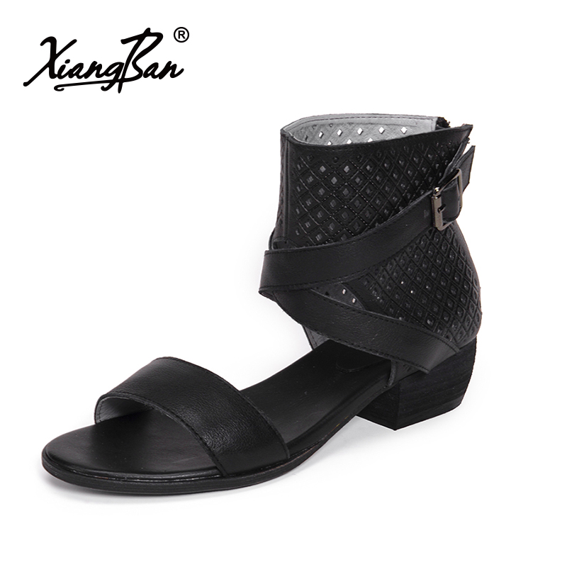 Xiangban Fashion Gladiator Sandals Women Genuine Leather 2018 Summer Women Beach Sandals Black Rome Style