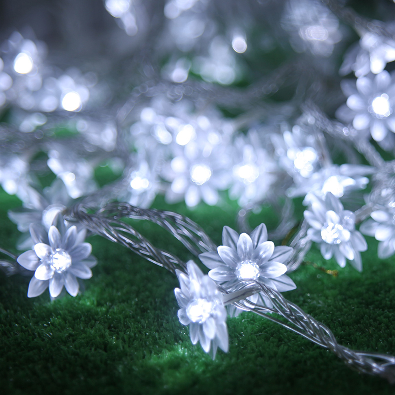 2.5m 20 Lotus Flowers Led String Garland Light Christmas New Year Wedding Holiday Party Home Luminaria Decoration Lamp