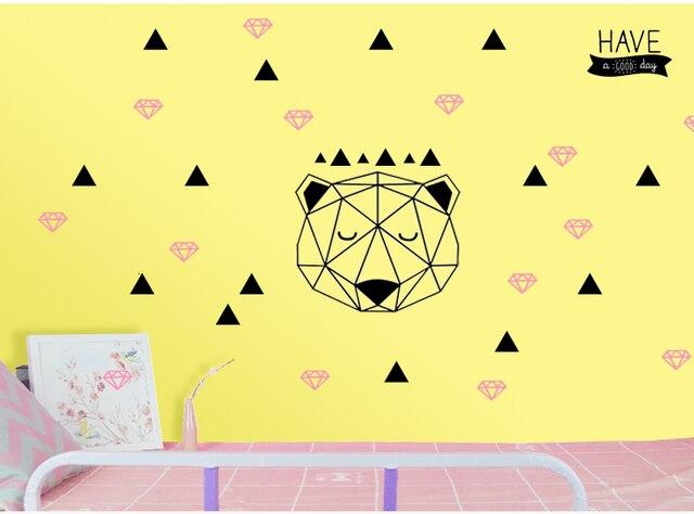 Nordic Cartoon Geometry Wall Decal Sticker Custom Minimalist Style ...