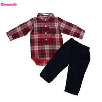 2pcs Set Spring Fashion Toddler Baby Boys Clothing Set Newborn Red Long Sleeve Plaid Romper Shirt