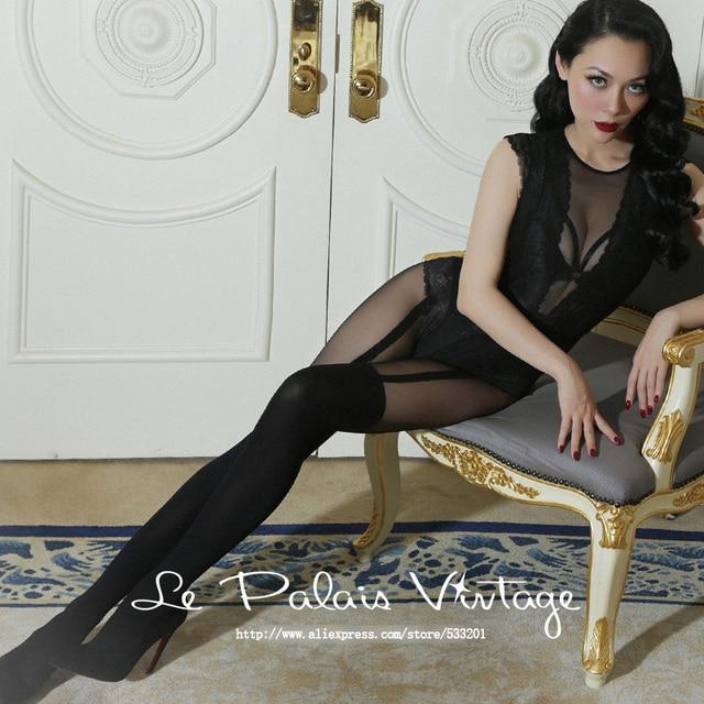 le palais vintage 2017 Spring New Elegant Pantyhose Thickening Jacquard Fake Garter Belt T Crotch Women Black Sexy Tights