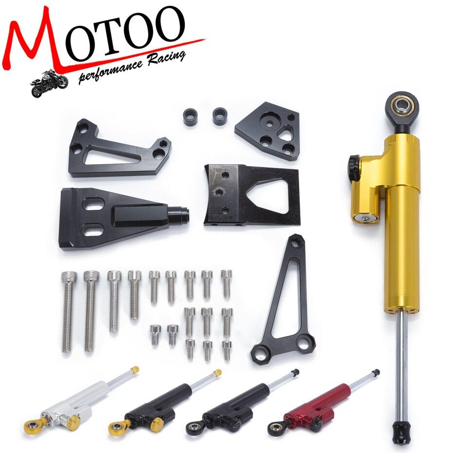 Motoo- Motorcycle Full set CNC Steering Damper Stabilizerlinear Linear Stabilizer Bracket kit For KAWASAKI ER6N ER-6N 2009-2011