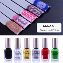 LULAA 6ml Stamp Nail Polish New Arrival Stamping Nail Lacquer DIY Manicure Art Tools Polish With Stamper & Stamping Template стоимость