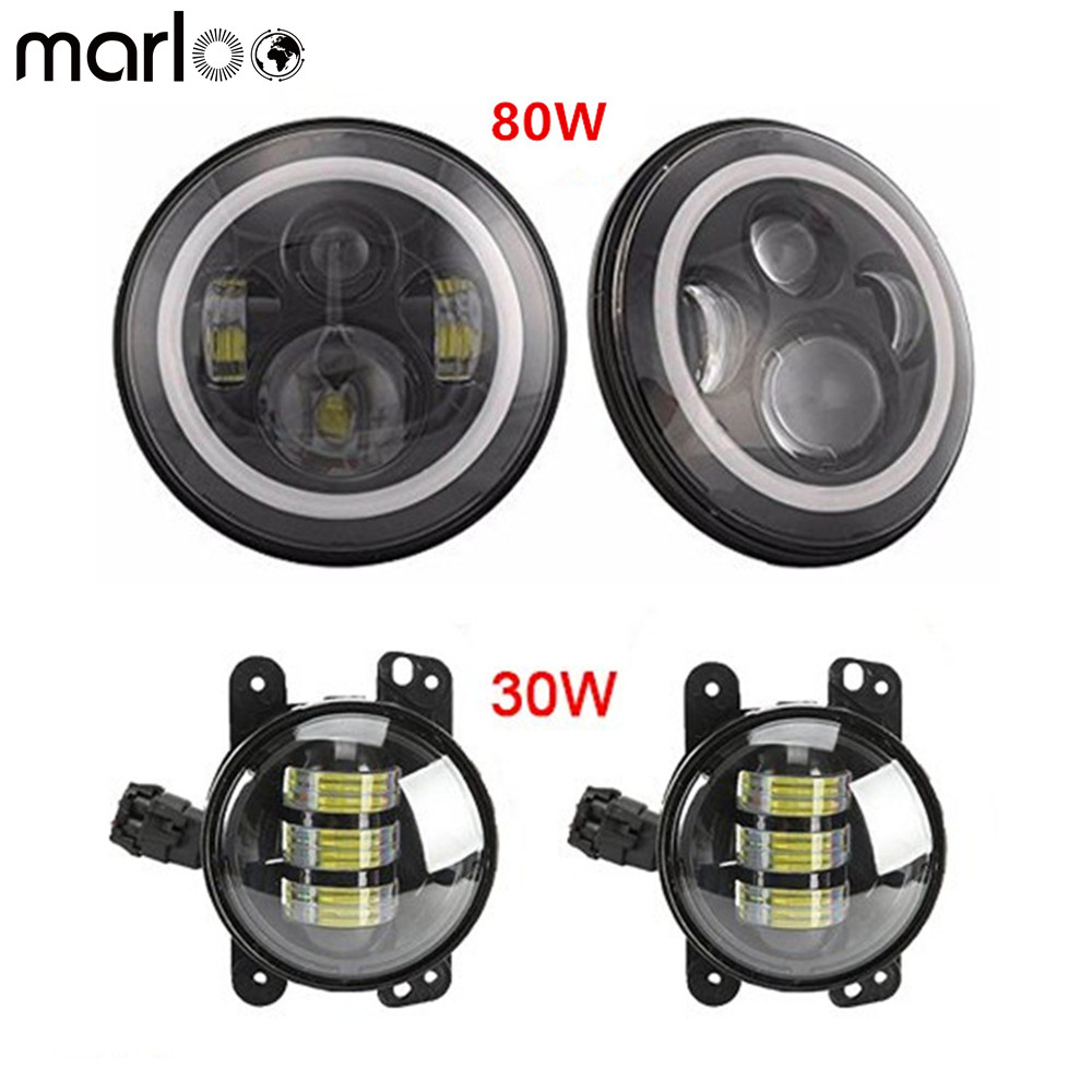 Marloo For Jeep Wrangler JK LJ JKU TJ Sahara Rubicon Freedom 7 Round Led Headlight White DRL Amber Turn Signal + 4 Fog Light 7 led halo headlights for jeep wrangler jk jku tj lj rubicon sahara unlimited white drl amber turn signal 4 halo fog light