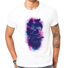 2017 Hot fashion Men t-shirt summer latest printed design Family of Ravens t-shirt High quality white tops Cool animal t-shirt