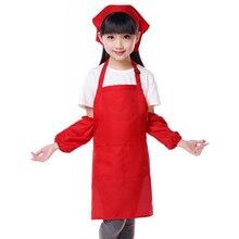 Купить с кэшбэком Cute Children Kids Plain Apron Kitchen Cooking Baking Painting Cooking Craft Art Adjustable Strap Aprons, Custom Logo Gift Bibs