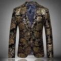 2017 Clásico Europeo Floral Marca Blazer Fashion Designer Casual Marca Hombres Blazer Masculino hombres de la chaqueta de Impresión de Oro JP116-7778