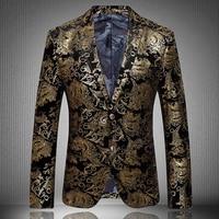 2017 Classic European Floral Brand Blazer Fashion Casual Designer Brand Men Blazer Masculino Print Gold jacket men JP116 7778
