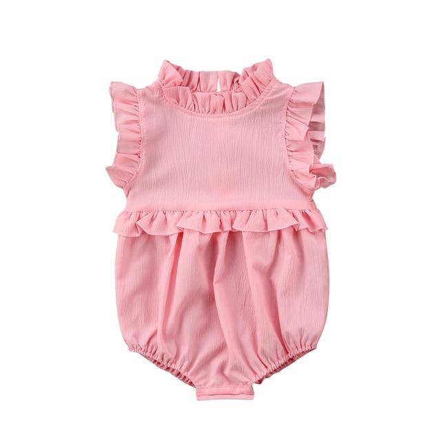 Newborn Baby Girls Sleeveless Ruffles Romper Jumpsuit Clothes Outfits Summer